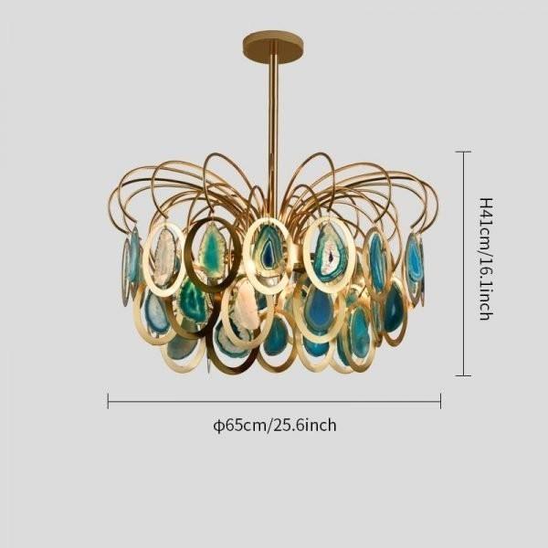Luxury pendant Slice agate chandelier